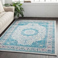 Medallion Contemporary Oriental Blue Area Rug (2' x 3')