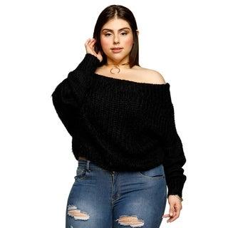 Xehar Womens Plus Size Fuzzy Crop Top Long Sleeve Sweater