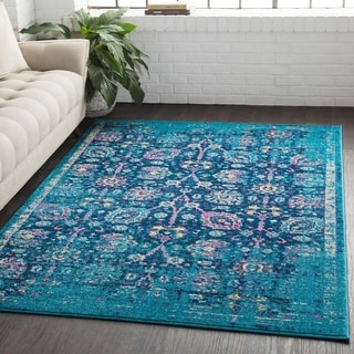 Overdyed Distressed Traditional Blue Area Rug - 2' x 3'