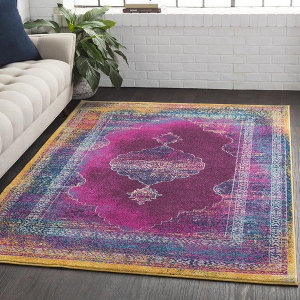 Overdyed Distressed Medallion Pink Area Rug (2' x 3')
