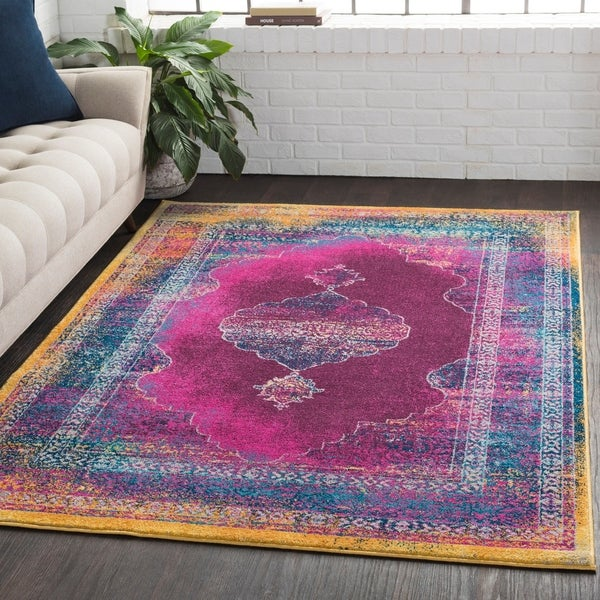 Overdyed Distressed Medallion Pink Area Rug - 2' x 3'