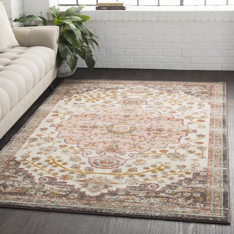 The Curated Nomad Arbor Traditional Persian Distressed White Area Rug (7'10 x 10'3)