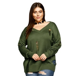 Xehar Womens Plus Size Distressed Ribbed V-Neck Pullover Tunic Sweater