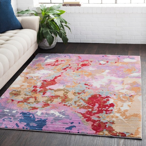 "Distressed Abstract Contemporary Purple Runner Rug - 3' x 7'10"" Runner"