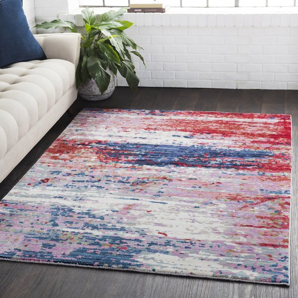 Distressed Abstract Contemporary Red/Navy Runner Rug (3' x 7'10)