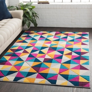 "Geometric Abstract Modern Yellow/Pink Runner Rug - 2'7"" x 7'6"" Runner"