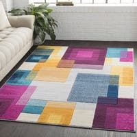 Geometric Abstract Modern Multicolor Runner Rug (2'7 x 7'6)