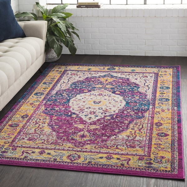 Medallion Contemporary Oriental Purple Runner (2'7 x 7'6)