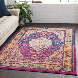 "Medallion Contemporary Oriental Purple Runner Rug - 2'7"" x 7'6"" Runner"