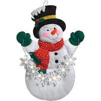 "Snowflake Snowman Hanging Felt Applique Kit-16.5""X23"" W/ String Lights"