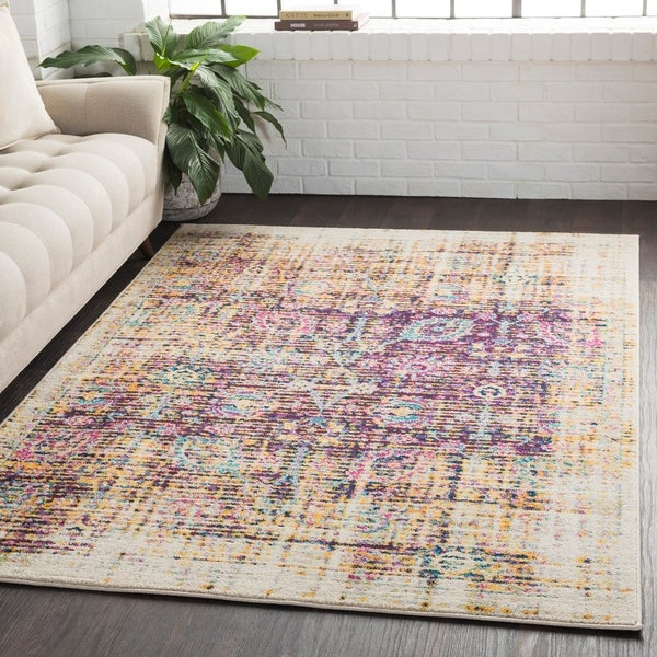 "Overdyed Distressed Traditional Purple/Yellow Runner Rug - 2'7"" x 7'6"" Runner"