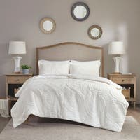Madison Park Nova Ivory Embroidered Medallion Ultra Plush Comforter Mini Set