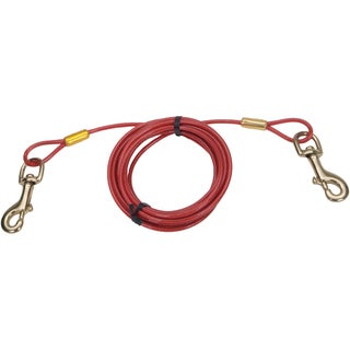 Titan Heavy 20' Dog Tie Out Cable W/Brass Plated Snaps-Red