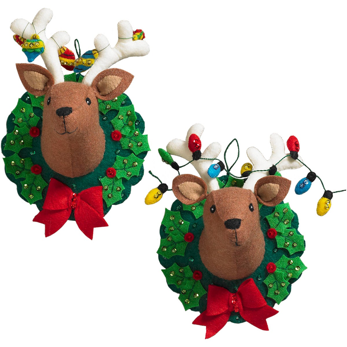 Bucilla Jingle & Belle Reindeer Heads Hanging Felt Appliq...