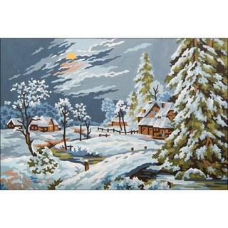 """Needleart World Needlepoint Printed Canvas 12""""X16""""-Moonlight Snow Scene"""