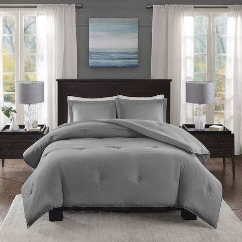 Madison Park Essentials Bradley Grey Yarn-Dyed Heather Weave Microfiber Down Alternative Comforter Set