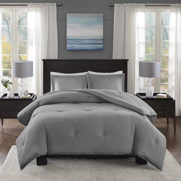 Madison Park Essentials Bradley Grey Yarn-Dyed Heather Weave Microfiber Down Alternative Comforter 3-Piece Set