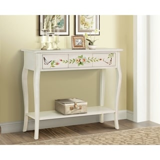 Floral Gardens Cream Wood Hand-painted Console Table