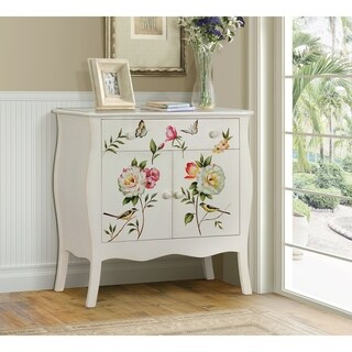Floral Gardens Lisa Audit Multicolored Wood Hand-painted 1-drawer Cabinet