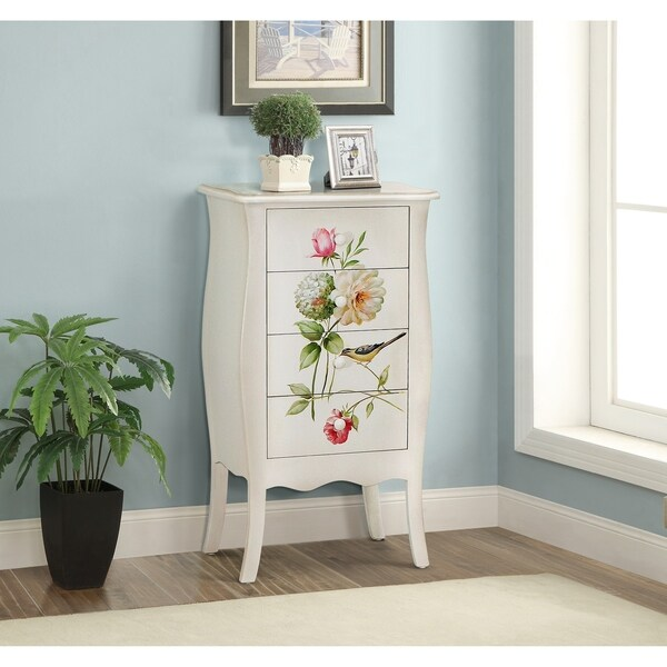 Floral Gardens Cream Wood Tall Chest