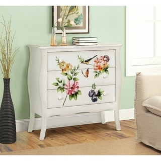 Floral Gardens Lisa Audit Cream Wood 3-drawer Hand-painted Chest