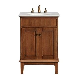 Elegant Lighting Sutton Collection Brown/White Wooden 24-inch Single Bathroom Vanity