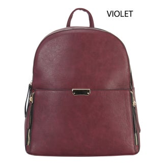 Diophy PU Leather Front Both Zipper Pocket Large Chic Backpack (Option: Multi)