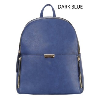 Diophy PU Leather Front Both Zipper Pocket Large Chic Backpack