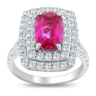 Auriya Platinum Certified 3ct Purple Pink Sapphire and 1 1/2ct TDW Diamond Ring - White