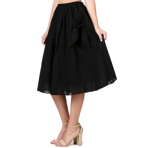 Evanese Women's Knee Length A Line Skirt w Front Pockets with Ribbon