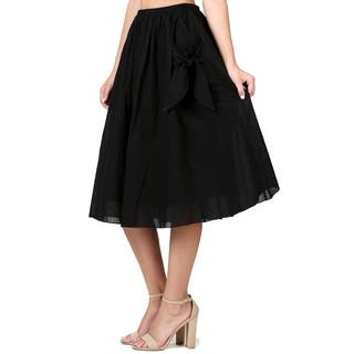 Evanese Women's Knee Length A Line Skirt w Front Pockets with Ribbon|https://ak1.ostkcdn.com/images/products/17995538/P24168011.jpg?impolicy=medium