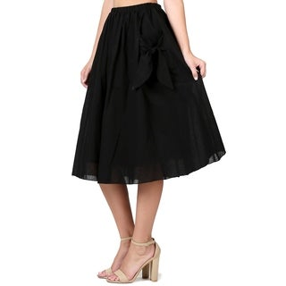 Evanese Women's Knee Length A Line Skirt w Front Pockets with Ribbon (5 options available)