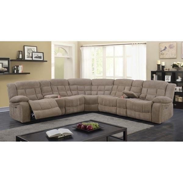 Superbe Best Quality Furniture 3 Piece Velvet Power Recliner Sectional