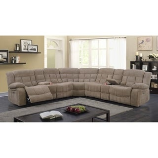 Best Quality Furniture 3-piece Velvet Power Recliner Sectional