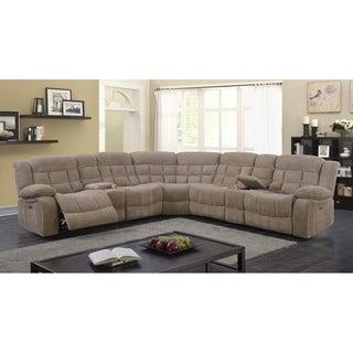 Best Quality Furniture 3-piece Velvet Power Recliner Sectional