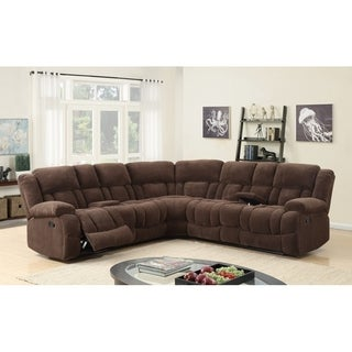 Best Quality Furniture 3-piece Brown Velvet Recliner Sectional