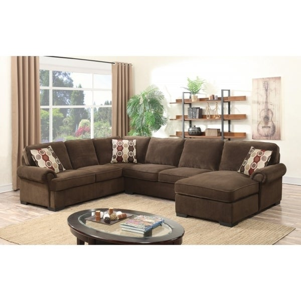 Best Quality Furniture 3 Piece Brown Suede Sleeper Sectional