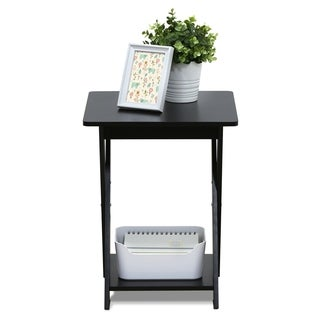 Furinno Modern Simplistic Criss-Crossed End Table, Espresso