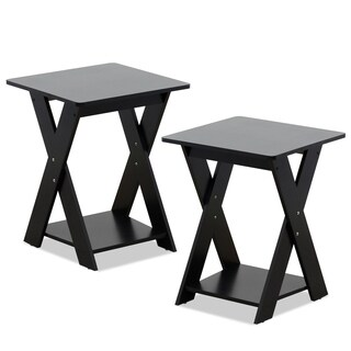 Furinno Modern Simplistic Criss-Crossed End Table, Set of 2, Espresso