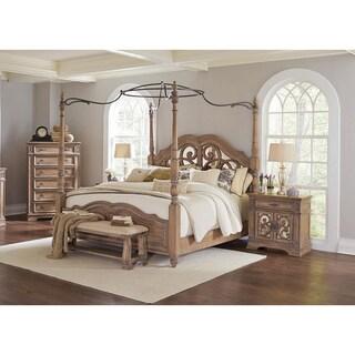 Westchester 3PC Canopy Poster Bedroom Set With 2-Door Nightstand