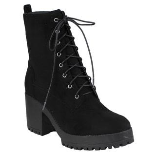 Beston EJ04 Women's Fashion Ankle High Chunky Block Heel Combat Booties