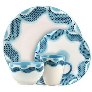 Elama Seashore Breeze 16 Piece Service for 4 Stoneware Dinnerware Set