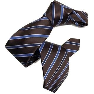 Dmitry Men's Brown Striped Italian Silk Tie