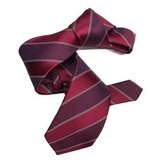 Dmitry Men's Cranberry Red Striped Italian Silk Tie