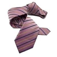 Dmitry Men's Dusty Pink Striped Italian Silk Tie
