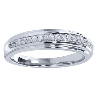 Sterling Silver 1/6cttw Diamond Wedding Ring - White