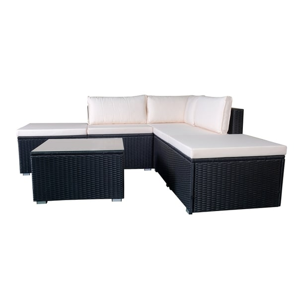 Merveilleux 6pcs Black Wicker Furniture Set Sectional Outdoor With Cushion Cover