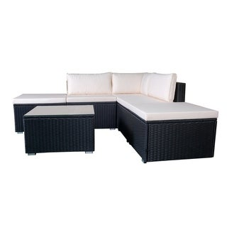 6pcs Black Wicker Furniture Set Sectional Outdoor with Cushion Cover
