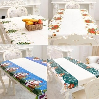Disposable Merry Christmas Rectangular Printed PVC Cartoon Tablecloth