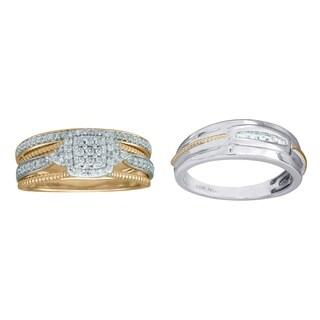 10KT White and Yellow Gold 1/2cttw Men and Women's Diamond Bridal Set - White I-J